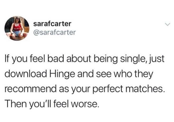 Text - sarafcarter @sarafcarter If you feel bad about being single, just download Hinge and see who they recommend as your perfect matches. Then you'll feel worse.