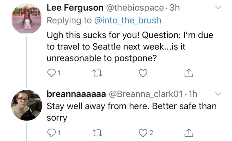 Text - Lee Ferguson @thebiospace · 3h Replying to @into_the_brush Ugh this sucks for you! Question: I'm due to travel to Seattle next week...is it unreasonable to postpone? 01 breannaaaaaa @Breanna_clark01 · 1h Stay well away from here. Better safe than sorry