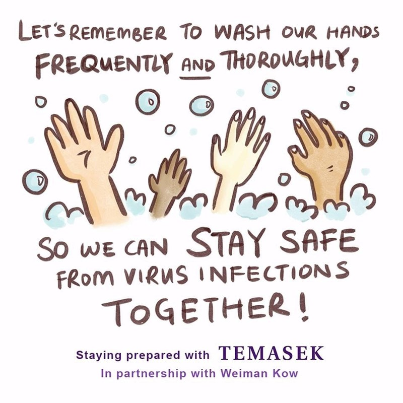 Text - LET'S REMEMBER TO WASH OUR HANDS FREQUENTLY AND THOROUGHLY, So WE CAN STAY SAFE FROM VIRUS INFECTIONS TOGETHER ! Staying prepared with TEMASEK In partnership with Weiman Kow