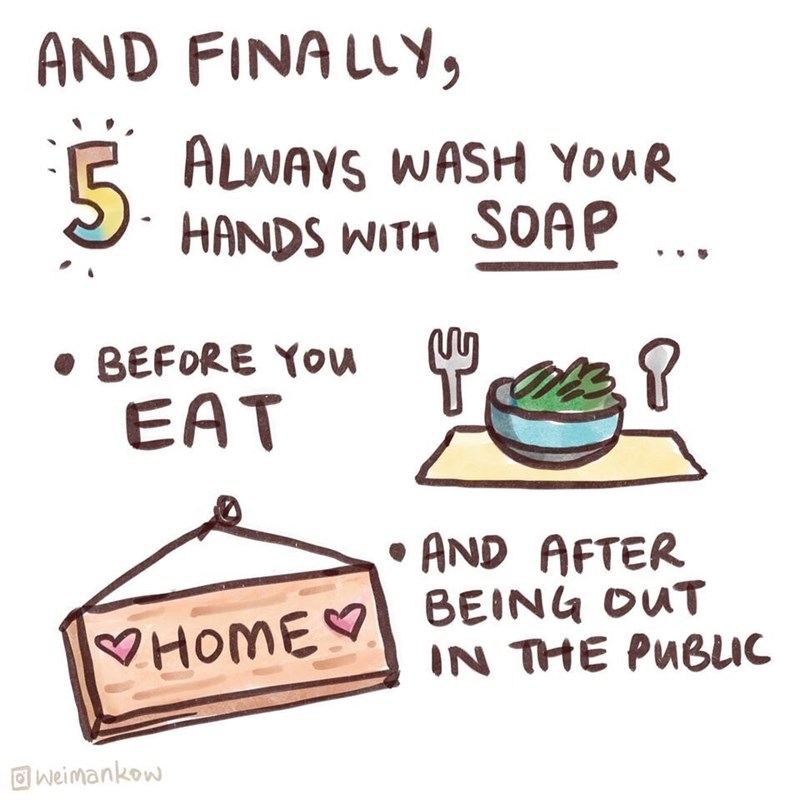 Text - AND FINALLY, E ALWAYS WASH YOUR HANDS WITH SOAP • BEFORE You EAT • AND AFTER HOME BEING OUT IN THE PUBLIC O weimankow
