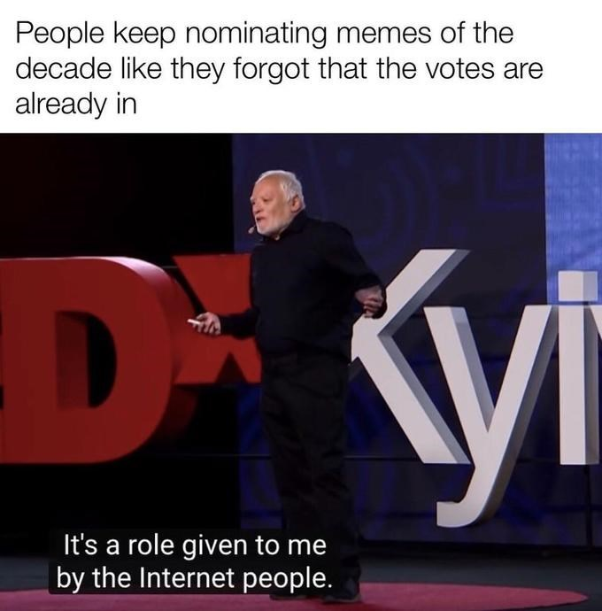 Text - People keep nominating memes of the decade like they forgot that the votes are already in It's a role given to me by the Internet people.