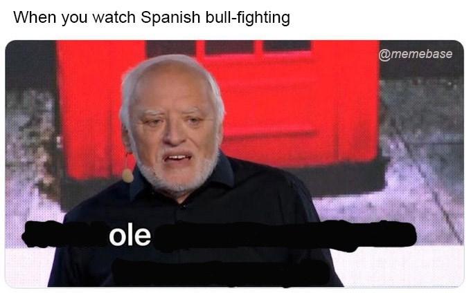 Text - When you watch Spanish bull-fighting @memebase ole