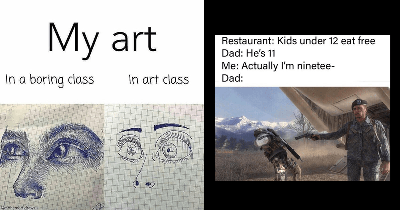Funny random memes, joker memes, joaquin phoenix | My art art class boring class @mohamed.draws detailed drawing of eyes and a nose, same drawing but much simpler and cartoonish. Restaurant: Kids under 12 eat free Dad: He's 11 Actually ninetee- Dad: LAMC call of duty General Shepherd's Betrayal