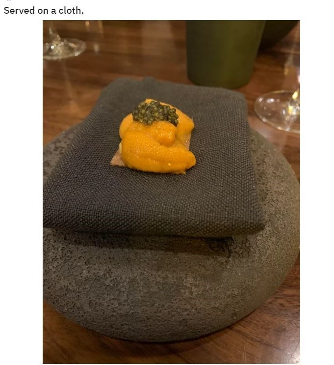 Yellow - Served on a cloth.