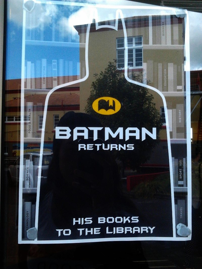 Poster - BATMAN RETURNS HIS BOOKS TO THE LJBRARY CHNOLOGY SCIENCE FOOD & HEALTH COMPUTING TRAVEL SPORT HISTORY