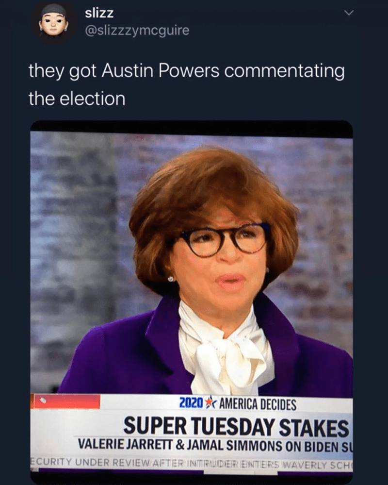 Funny meme about how this woman looks like austin powers, hosting super tuesday, politics, fashion | tweet by slizzzymcguire they got austin powers commentating the election SUPER TUESDAY STAKES Valerie Jarrett