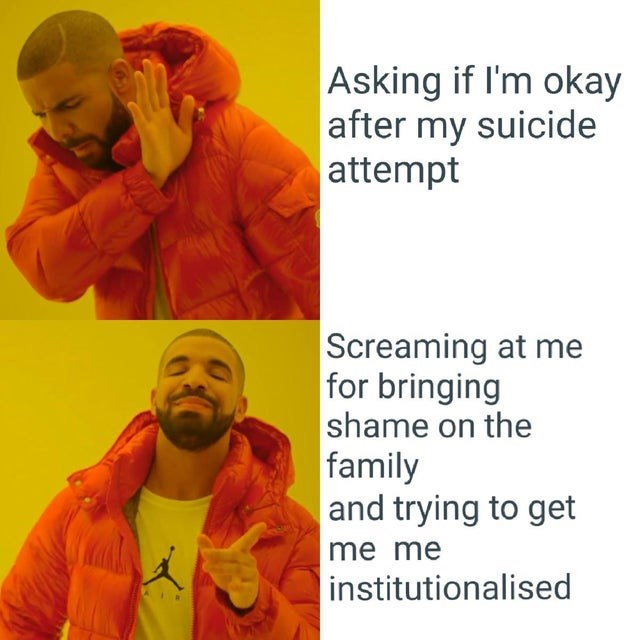 Yellow - Asking if I'm okay after my suicide attempt Screaming at me for bringing shame on the family and trying to get me me institutionalised