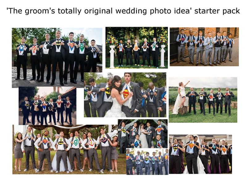 Social group - 'The groom's totally original wedding photo idea' starter pack
