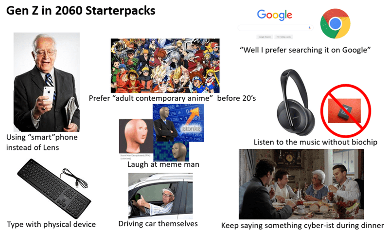 """Product - Gen Z in 2060 Starterpacks Google """"Well I prefer searching it on Google"""" Prefer """"adult contemporary anime"""" before 20's 0408 286 2286 163 156 0297 stonks Using """"smart""""phone 0.1204 0.1902 Listen to the music without biochip instead of Lens Storik Man Decophated ( (olerioe Laugh at meme man Type with physical device Driving car themselves Keep saying something cyber-ist during dinner"""