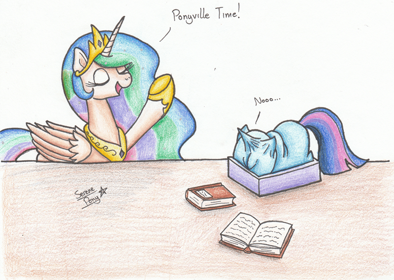 serene pony twilight sparkle garfield princess celestia - 9450438656