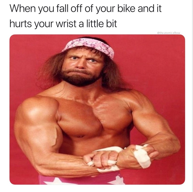 Bodybuilder - When you fall off of your bike and it hurts your wrist a little bit @the.atomic.elbow