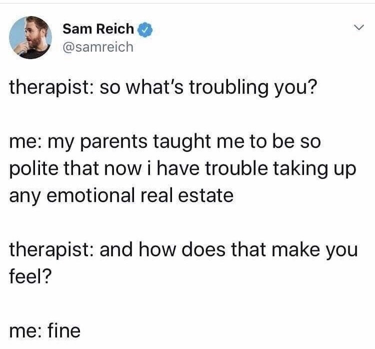 Tweet about someone at a therapy session whose parents taught them to not take up any emotional real estate | Sam Reich therapist: so what's troubling you? me: my parents taught me to be so polite that now i have trouble taking up any emotional real estate and how does that make you feel? fine