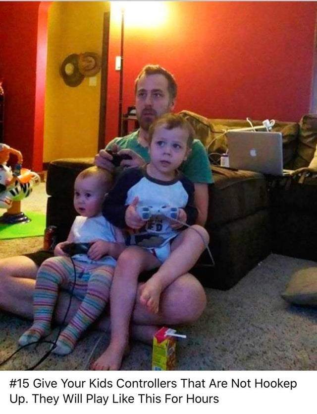 Child - #15 Give Your Kids Controllers That Are Not Hookep Up. They Will Play Like This For Hours