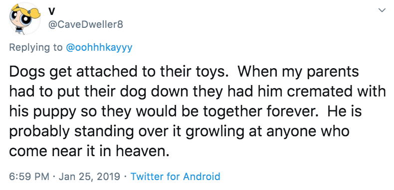 Text - @CaveDweller8 Replying to @oohhhkayyy Dogs get attached to their toys. When my parents had to put their dog down they had him cremated with his puppy so they would be together forever. He is probably standing over it growling at anyone who come near it in heaven. 6:59 PM · Jan 25, 2019 · Twitter for Android