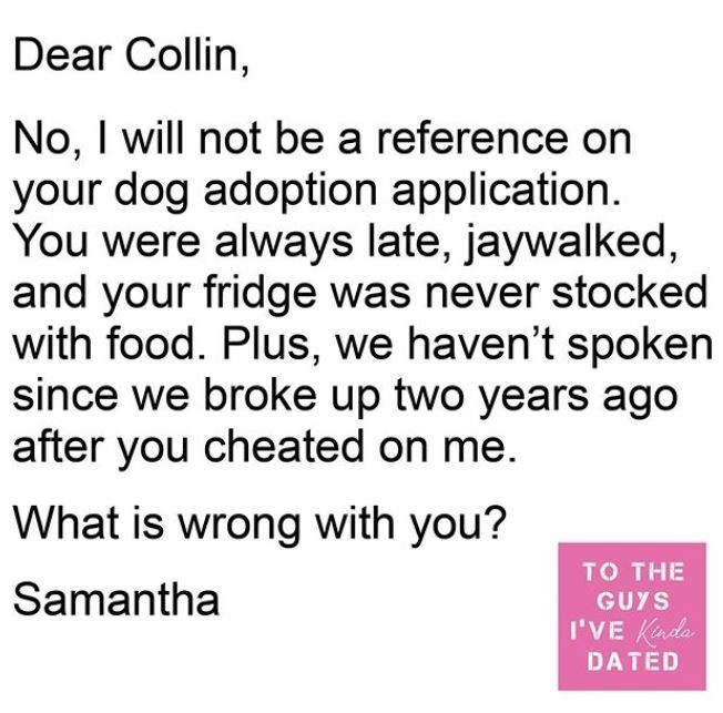 Text - Dear Collin, No, I will not be a reference on your dog adoption application. You were always late, jaywalked, and your fridge was never stocked with food. Plus, we haven't spoken since we broke up two years ago after you cheated on me. What is wrong with you? TO THE Samantha GUYS I'VE Kindo DATED