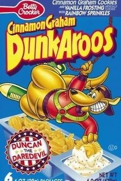 Breakfast cereal - Betty Crocker AND VANILLA FROSTING wi RAINBOW SPRINKLES Cinnamon Graham DunkAroos DUNCAN THE DAREDEVIL NET WT DICKICEO
