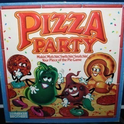 Animated cartoon - PIZZA PARTY Makin, Matchin Switchin Snatchin Your Piece of the Pie Game PARKER BROTHERS
