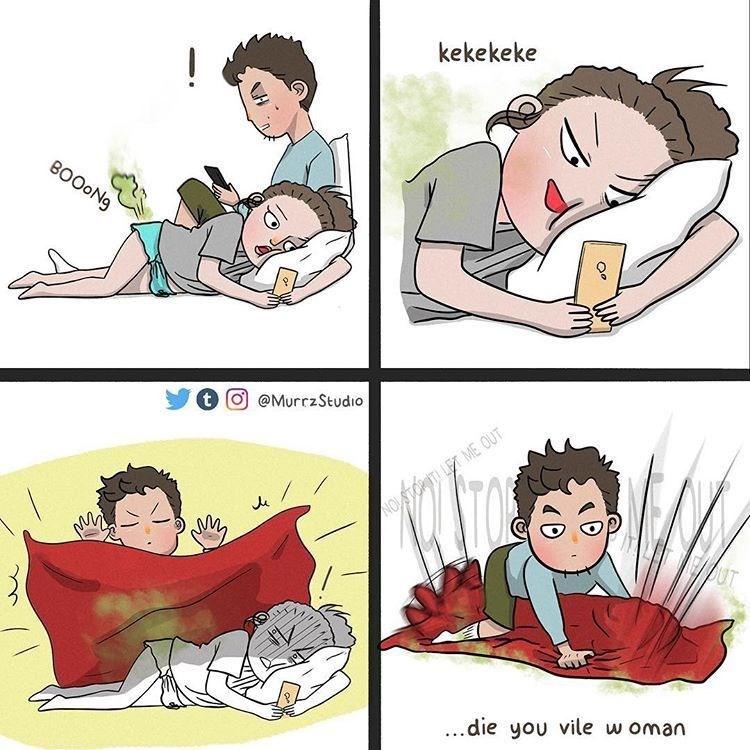 Cartoon - kekekeke ! BOOON9 t) @MurrzStudio NOSTOPITI LET ME OUT OUT ..die you vile w oman