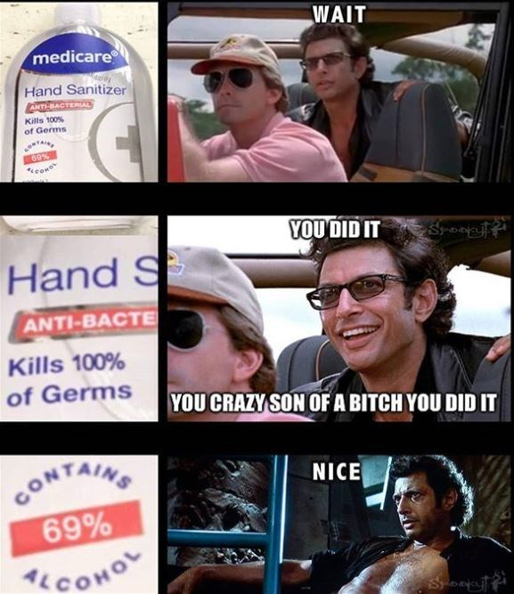 Facial expression - WAIT medicare Hand Sanitizer ANT-BACTERIA Kills 100% of Germs 69% Keono YOU DID IT Sponyl Hand S ANTI-BACTE Kills 100% of Germs YOU CRAZY SON OF A BITCH YOU DID IT CONTAING 69% NICE COHOL Son