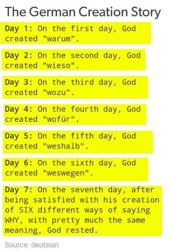 """Text - The German Creation Story Day 1: On the first day, God created """"warum"""". Day 2: On the second day, God created """"wieso"""". Day 3: On the third day, God created """"wozu"""". Day 4: On the fourth day, God created """"wofür"""". Day 5: On the fifth day, God created """"weshalb"""". Day 6: On the sixth day, God created """"weswegen"""". Day 7: On the seventh day, after being satisfied with his creation of SIX different ways of saying WHY, with pretty much the same meaning, God rested. Source: deutsian"""