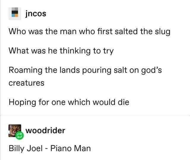 Text - jncos Who was the man who first salted the slug What was he thinking to try Roaming the lands pouring salt on god's creatures Hoping for one which would die woodrider Billy Joel - Piano Man
