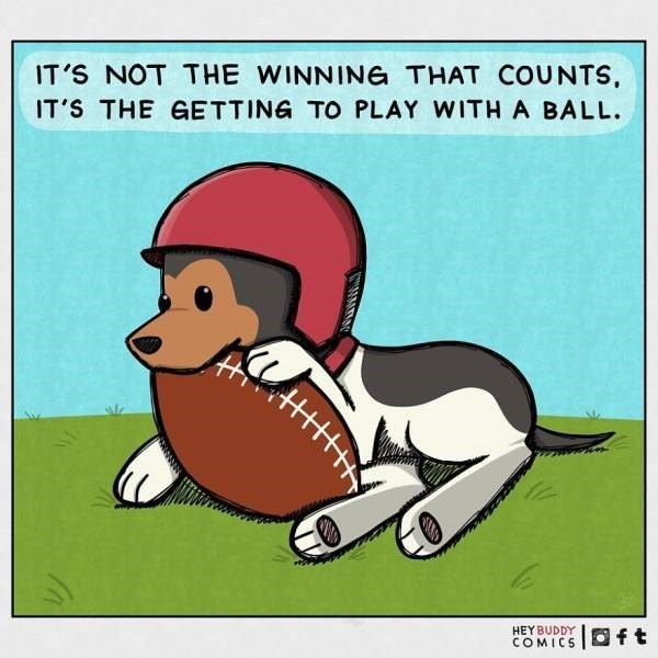 Cartoon - IT'S NOT THE WINNING THAT COUNTS, IT'S THE GETTING TO PLAY WITH A BALL. HEYBUDDY COMICS O ft