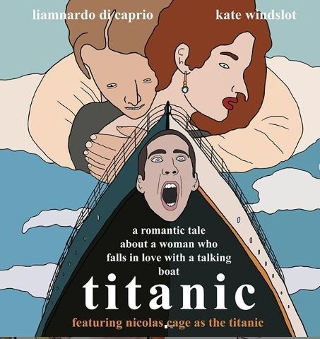 Cartoon - liamnardo di/caprio kate windslot a romantic tale about a woman who falls in love with a talking boat titanic featuring nicolas cage as the titanic