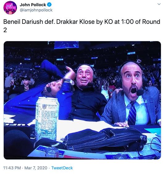 Text - John Pollock @iamjohnpollock Beneil Dariush def. Drakkar Klose by KO at 1:00 of Round UFC 11:43 PM - Mar 7, 2020 · TweetDeck