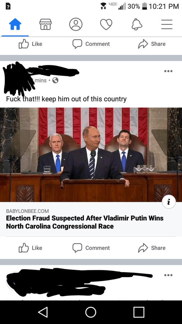 News - | 30% 10:21 PM keי לT Comment Share mins • 6 Fuck that!!! keep him out of this country BABYLONBEE.COM Election Fraud Suspected After Vladimir Putin Wins North Carolina Congressional Race 75 Like Comment Share ...