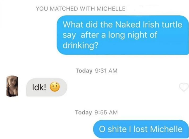 Text - YOU MATCHED WITH MICHELLE What did the Naked Irish turtle say after a long night of drinking? Today 9:31 AM Idk! 9 Today 9:55 AM O shite I lost Michelle