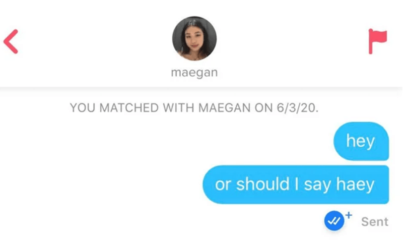 Text - maegan YOU MATCHED WITH MAEGAN ON 6/3/20. hey or should I say haey Sent