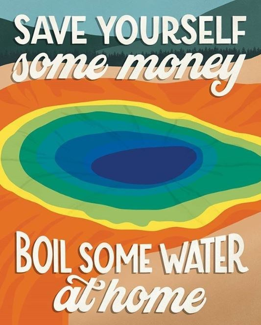 Poster - SAVE YOURSELF 1ome money BOIL SOME WATER at home