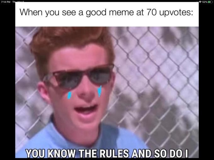 Eyewear - 7:14 PM Thy E 52% When you see a good meme at 70 upvotes: YOU KNOW THE RULES AND SO DO I
