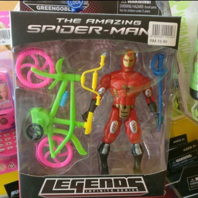 Toy - LOCK GREENGOBL AND ZA VWANNIIVU! CHOKING HAZARD-Snal parts Not for childen under 3 years THE A MAZING SPIDER-MANIN RM 15.90 uiy AGES 3> AGES 3 WARNING ONONNG HASED AA EGENDG BU INFINITE SERIES CHOIN Aorto d NOLAING 9600