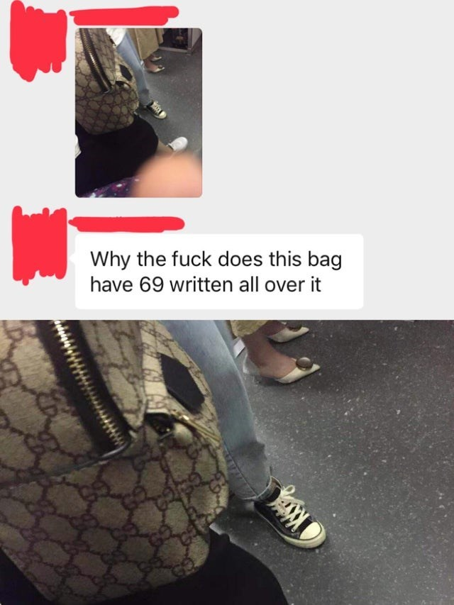 Footwear - Why the fuck does this bag have 69 written all over it