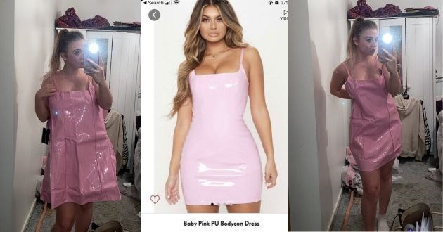 Text - Clothing - Search VID Baby Pink PU Bodycon Dress