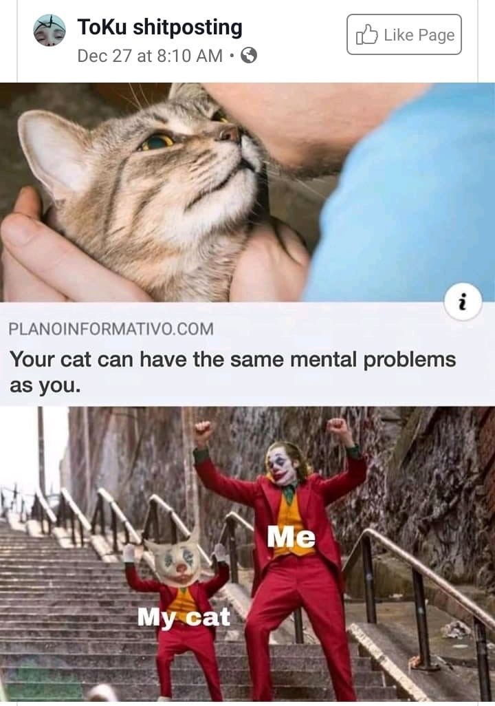 "Funny dank meme that shows a headline that reads, ""Your cat can have the same mental problems as you"" joker dancing on stairs with mini joker"