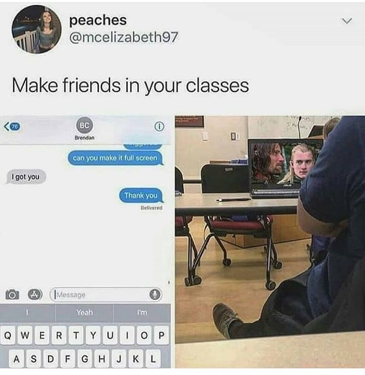 Funny meme about making friends while being shy; someone opens up their laptop showing Lord of the Rings in class
