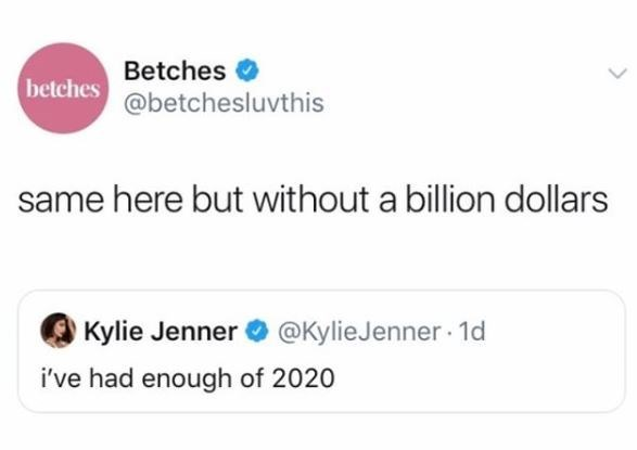 Text - Betches O @betchesluvthis betches same here but without a billion dollars Kylie Jenner @KylieJenner · 1d i've had enough of 2020