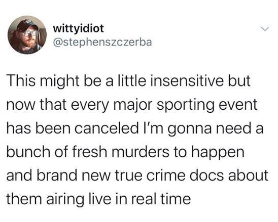 Text - wittyidiot @stephenszczerba This might be a little insensitive but now that every major sporting event has been canceled I'm gonna need a bunch of fresh murders to happen and brand new true crime docs about them airing live in real time