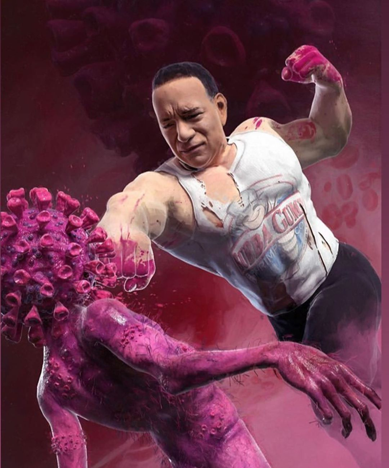 Funny picture of Tom Hanks punching the coronavirus