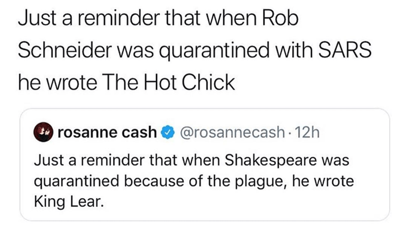 Funny meme about how not everyone will write shakespeare-esque material while under quarantine for covid-19 coronavirus, rob schneider wrote hot chicks while in quarantine for sars