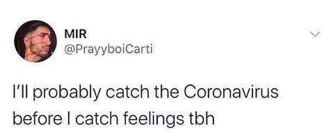 Text - MIR @PrayyboiCarti I'll probably catch the Coronavirus before I catch feelings tbh
