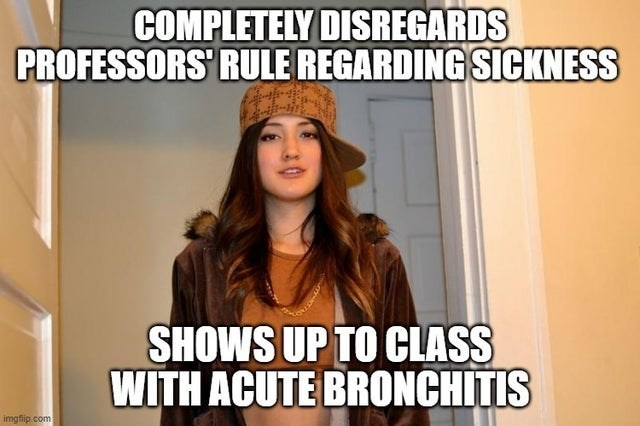 Facial expression - COMPLETELY DISREGARDS PROFESSORS' RULE REGARDING SICKNESS SHOWS UP TO CLASS WITH ACUTE BRONCHITIS imgflip.com