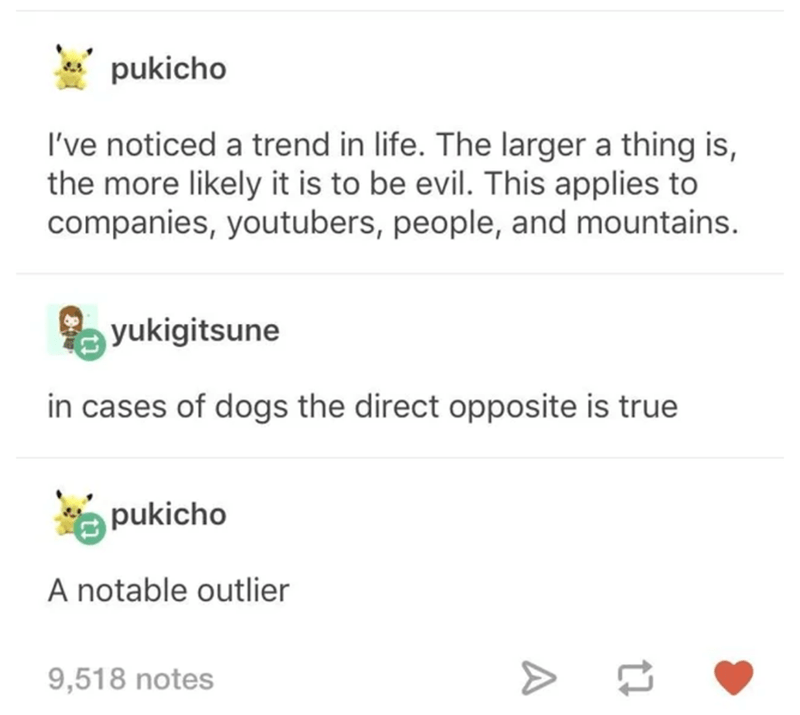 Text - pukicho I've noticed a trend in life. The larger a thing is, the more likely it is to be evil. This applies to companies, youtubers, people, and mountains. yukigitsune in cases of dogs the direct opposite is true pukicho A notable outlier 9,518 notes