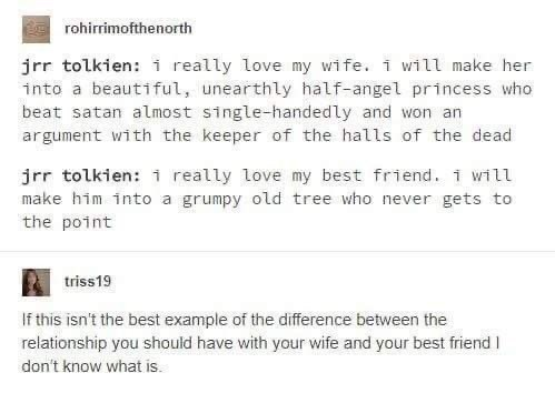 Text - rohirrimofthenorth jrr tolkien: i really love my wife. i will make her into a beautiful, unearthly half-angel princess who beat satan almost single-handedly and won an argument with the keeper of the halls of the dead jrr tolkien: i really love my best friend. 1 will make him into a grumpy old tree who never gets to the point triss19 If this isn't the best example of the difference between the relationship you should have with your wife and your best friend I don't know what is.