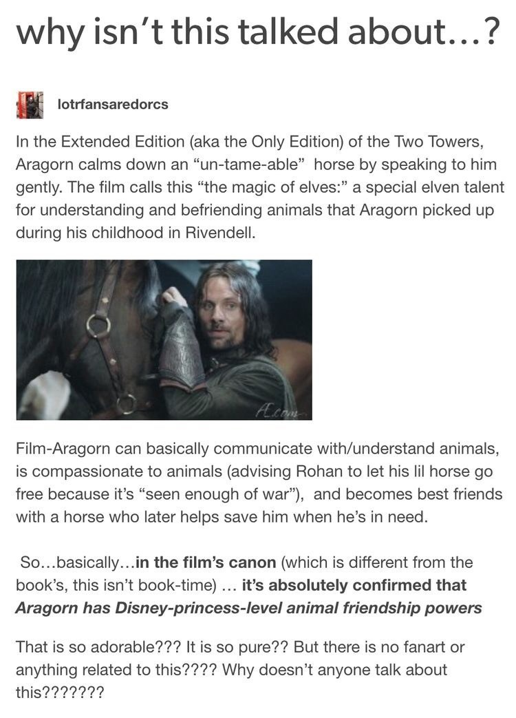 """Text - why isn't this talked about...? lotrfansaredorcs In the Extended Edition (aka the Only Edition) of the Two Towers, Aragorn calms down an """"un-tame-able"""" horse by speaking to him gently. The film calls this """"the magic of elves:"""" a special elven talent for understanding and befriending animals that Aragorn picked up during his childhood in Rivendell. Acom Film-Aragorn can basically communicate with/understand animals, is compassionate to animals (advising Rohan to let his lil horse go free b"""