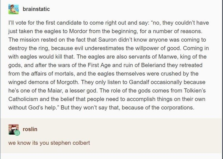 """Text - brainstatic I'l vote for the first candidate to come right out and say: """"no, they couldn't have just taken the eagles to Mordor from the beginning, for a number of reasons. The mission rested on the fact that Sauron didn't know anyone was coming to destroy the ring, because evil underestimates the willpower of good. Coming in with eagles would kill that. The eagles are also servants of Manwe, king of the gods, and after the wars of the First Age and ruin of Beleriand they retreated from t"""