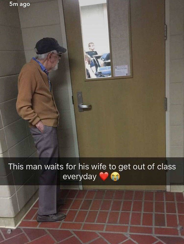 Door - 5m ago This man waits for his wife to get out of class everyday