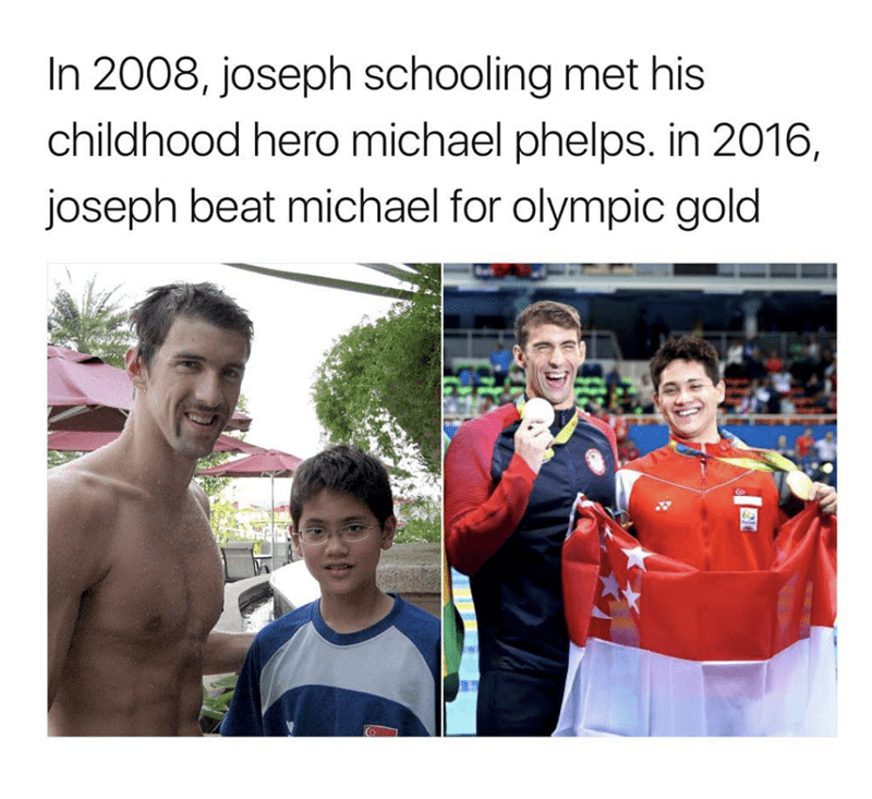 Facial expression - In 2008, joseph schooling met his childhood hero michael phelps. in 2016, joseph beat michael for olympic gold